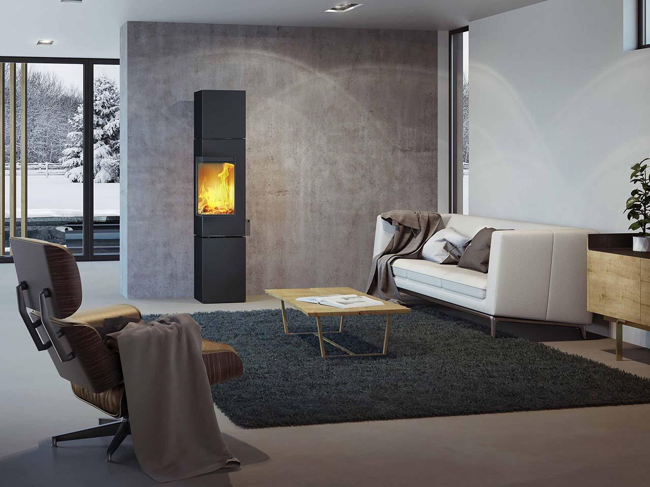 Moderner und eleganter Kaminofen attika Q-BE XL in der XL-Ausführung