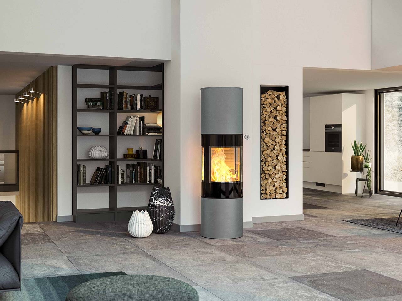 Kaminofen attika VIVA 160 in grauer Ausführung mit schwarzer Brennzelle