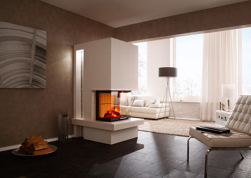 Dreiseitiger Panoramakamin mit Spartherm Brennzelle, Feuertisch und Keramik, Modell Arte-3RL-60H