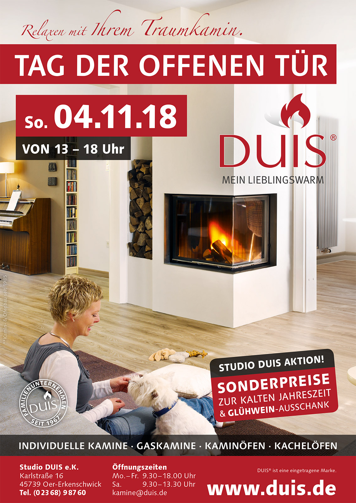 Tag der offenen Tür am 04.11.2018 bei Studio DUIS – Glühwein & tolle Rabatte.